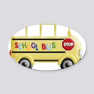 cute yellow school bus Oval Car Magnet